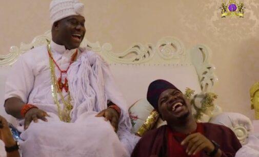 VIDEO: Ooni makes comedy debut in Mr Macaroni skit