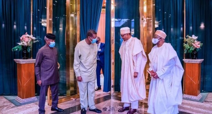 PHOTOS: Adeboye visits Buhari in Aso Rock