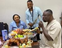 TRENDING: Ayade's brother spotted with bowls of chicken
