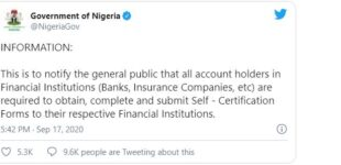 FG apologises for misleading tweets on registration for account holders