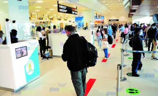 PHOTOS: Passengers comply with safety protocols as activities resume at Ghana international airport