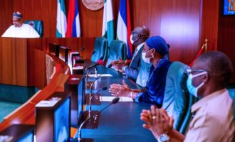 PHOTOS: PDP leaders accompany Obaseki to Aso Rock