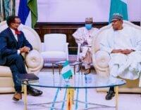 PHOTOS: Buhari hosts Akinwunmi Adesina at Aso Rock