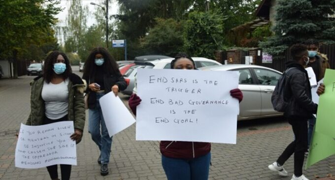 PHOTOS: Nigerians in Poland join #EndSARS protest