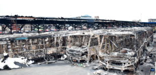 PHOTOS: 63 buses, ATMs — assets destroyed by hoodlums in Lagos
