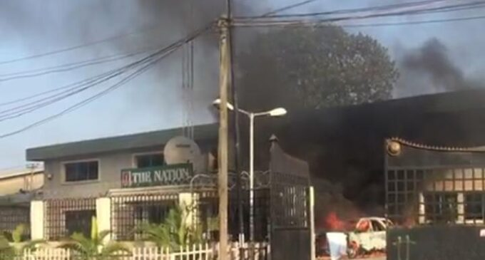 The Nation newspaper head office on fire