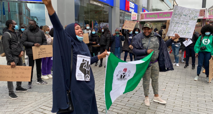 PHOTOS: Nigerians in UK join #EndSARS protest