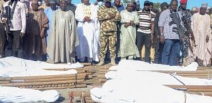 PHOTOS: Zulum attends burial of farmers killed by Boko Haram