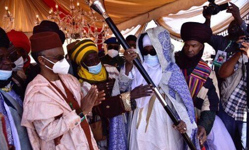 PHOTOS: El-Rufai presents staff of office to emir of Zazzau