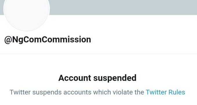 Twitter suspends NCC's account