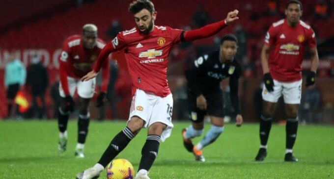 Man United go level on points with Liverpool after Aston Villa win