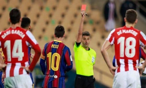 Messi gets first-ever Barcelona red card as Athletic Bilbao wins Spanish Super Cup