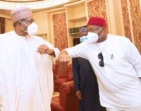 PHOTOS: Uzodinma meets Buhari in Aso Rock amid feud with Okorocha