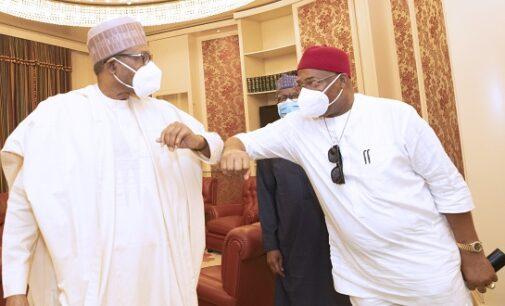 PHOTOS: Uzodinma meets Buhari in Aso Rock amid feud with Okorocha