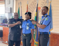PHOTOS: IGP 'violates' COVID protocol, decorates officers without a face mask