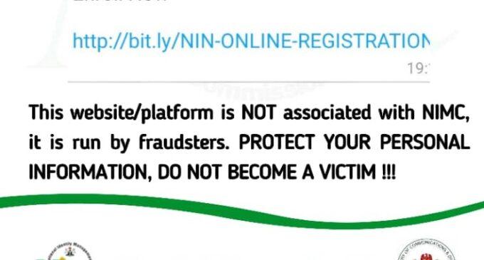 SCAM ALERT: Website asking for individual NIN registration is fraudulent, says NIMC
