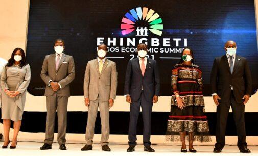 PHOTOS: Buhari, Sanwo-Olu, Okonjo-Iweala attend Lagos economic summit
