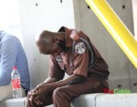 EXTRA: Security officers sleeping on duty at Lekki tollgate