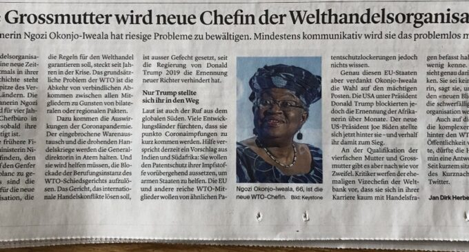 Backlash as Swiss newspapers say new WTO DG is a  '66-year-old Nigerian grandmother'