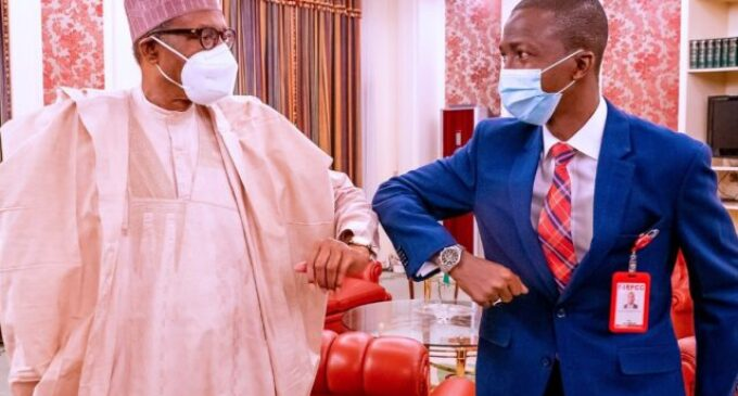 PHOTOS: Bawa meets Buhari for the first time as EFCC chairman