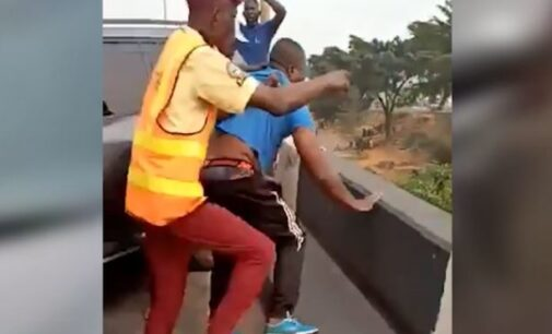 VIDEO: Driver knocks policeman off bridge in Lagos