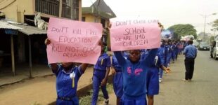 PHOTOS: Students of Imo school stage protest over Okorocha's arrest
