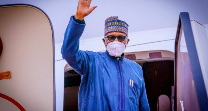 PHOTOS: Buhari departs for London with few aides