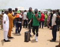 PHOTOS: Super Eagles arrive Benin after boat trip from Lagos