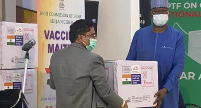 FG takes delivery of 100,000 COVID vaccine doses donated by India