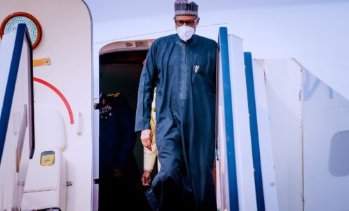 PHOTOS: Buhari returns to Nigeria after four days in France