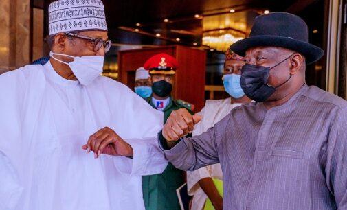 PHOTOS: Jonathan briefs Buhari on Mali crisis at Aso Rock