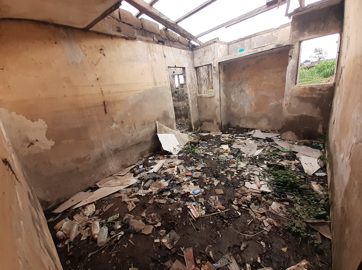 Essang's family apartment destroyed by flooding; Nelson Mandela street, Calabar