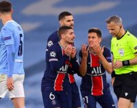 PSG players accuse referee of swearing at them during defeat to Man City