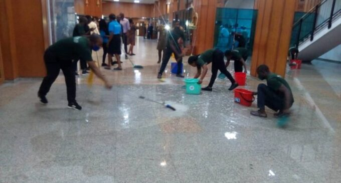 EXTRA: National assembly complex flooded after downpour (photos)