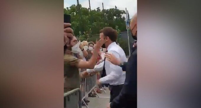 VIDEO: French president slapped in the face by protester