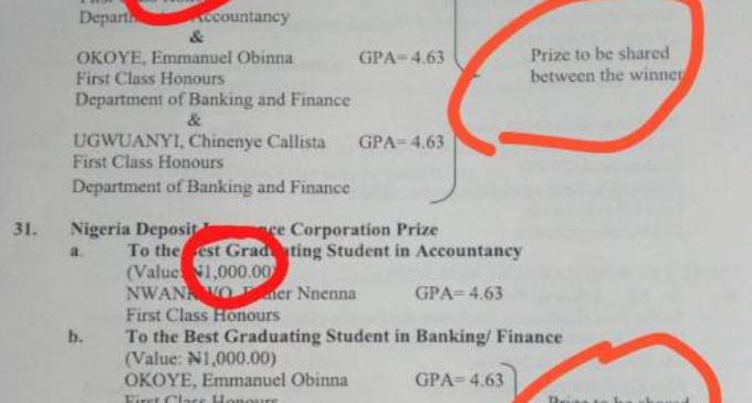 Still on UNN N500 cash prize for best graduating student