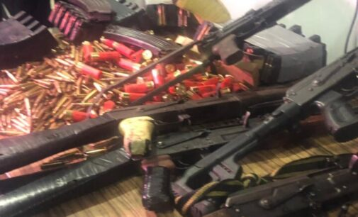 PHOTOS: DSS presents AK-47 rifles, charms 'recovered from Sunday Igboho's house'