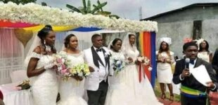 PHOTOS: Man marries four wives at once in Gabon