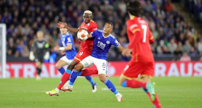 Europa League: Osimhen nets brace as Ndidi sees red in Leicester, Napoli draw