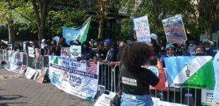 Yoruba nation agitators protest at UN HQ in New York, demand referendum